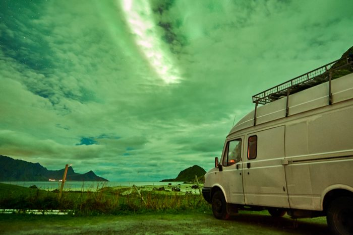 northern-lights-aurora-lofoten-by-campervan-haukland-beach-3-700x467-jpg.47604_Lofoten by Campervan: Watching the Northern Lights on Haukland Beach_Van Dwelling / Rubber Tramping_Squat the Planet_3:02 PM